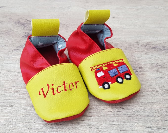 Soft leather, faux leather, baby slipper, boy's slipper, child's slipper, custom slipper, firefighter