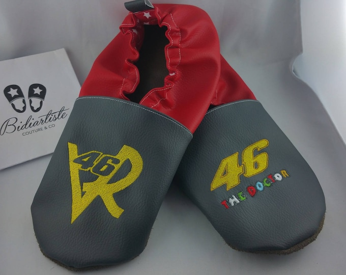 Soft leather slippers, faux leather, baby slipper, boy slipper, girl slipper, child slipper, custom slipper, gp motorcycle