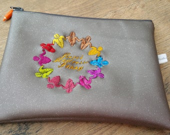 Clutch faux leatherette 20 x 15, clutch, Center pocket, Pocket MOM clutch purse, embroidered, personalized
