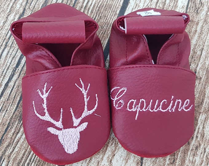 Soft leather, faux leather, baby/child slipper, deer head