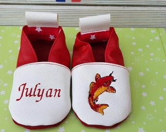 Slippers soft leather, leatherette, slippers, baby, boy, girl, kids slippers, slipper personalized shoe slipper koi carp