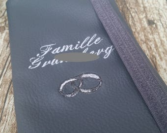 Personalized leatherette family booklet protector