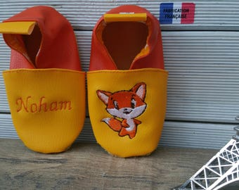 Slippers soft leather, leatherette shoe baby Bootie boy, girl, kids slippers, slippers custom slippers, Fox, fox