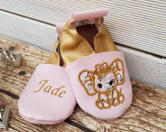 Soft leather slippers, faux leather, baby slipper, boy slipper, girl slipper, child slipper, custom slipper, elephant, Lyanna