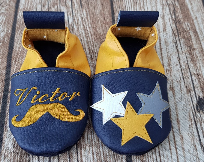 Soft leather, faux leather, mustard and navy blue slippers, custom slipper, mustache and stars