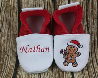 Soft gingerbread man slippers, Christmas, to customize