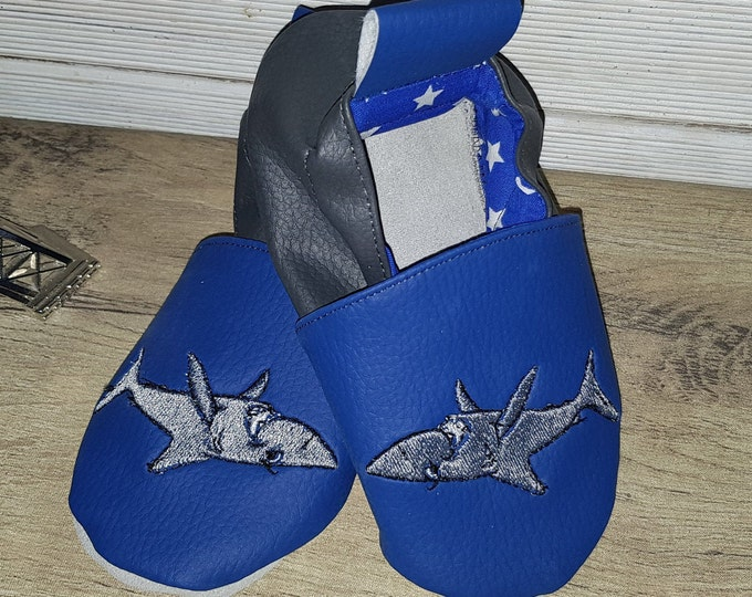 Soft leather slippers, faux leather, baby slipper, boy slipper, child slipper, shark slippers