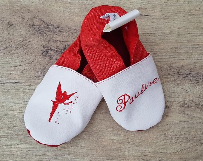 Soft leather, faux leather, baby, girl, child slipper, custom slipper, fairy