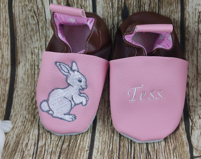 Soft leather slippers, faux leather, baby slipper, boy slipper, girl slipper, child slipper, custom slipper, rabbit