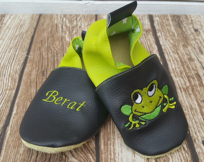Soft leather slippers, faux leather, baby slipper, boy slipper, girl slipper, child slipper, custom slipper, frog