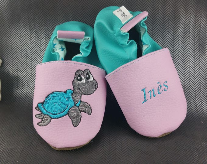 Soft leather slippers, faux leather, baby slipper, boy slipper, girl slipper, child slipper, custom slipper, turtle