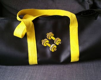 Duffel bag, faux leather, sports, weekends, gym bag, gym bag, embroidered, personalized,