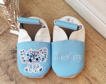 Soft leather slippers, faux leather, baby slippers, children's slippers, custom slippers, elephant, liberty
