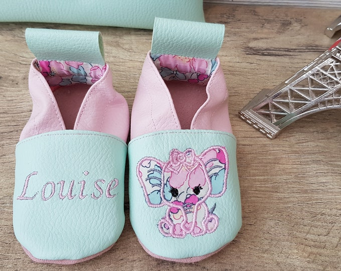 Soft leather slippers, faux leather, baby slipper, girl slipper, child shoe, custom slipper, elephant