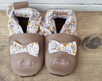 Soft leather, leatherette shoe baby Bootie girl child slippers, slipper personalized, limited edition gold slippers