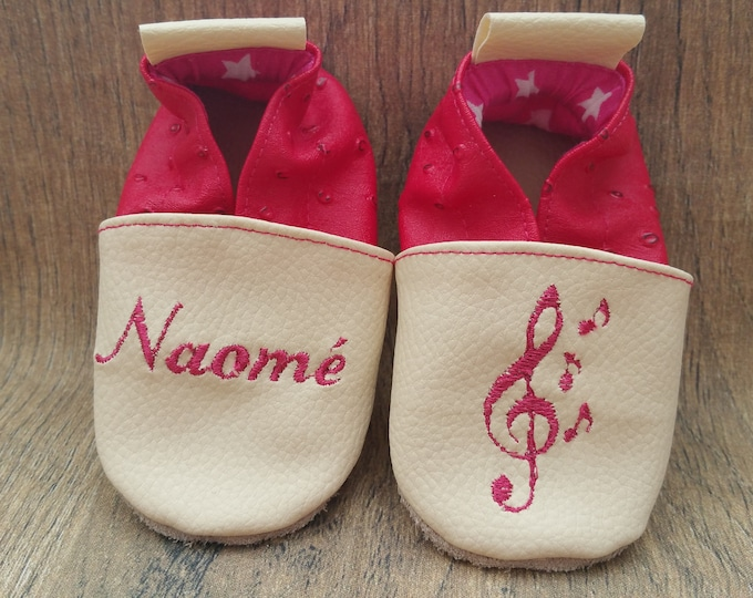 Soft leather slippers, faux leather, baby slipper, boy slipper, girl slipper, child slipper, custom slipper, music, note