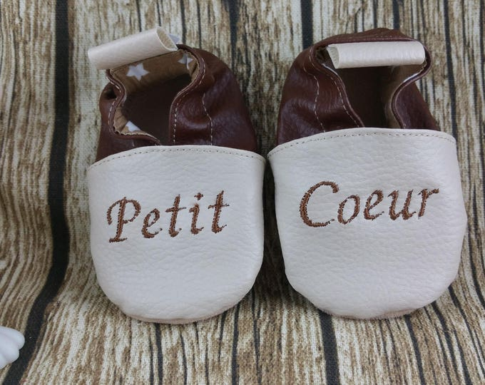 Soft leather slippers, faux leather, baby slipper, boy slipper, girl slipper, child slipper, custom slipper, heart
