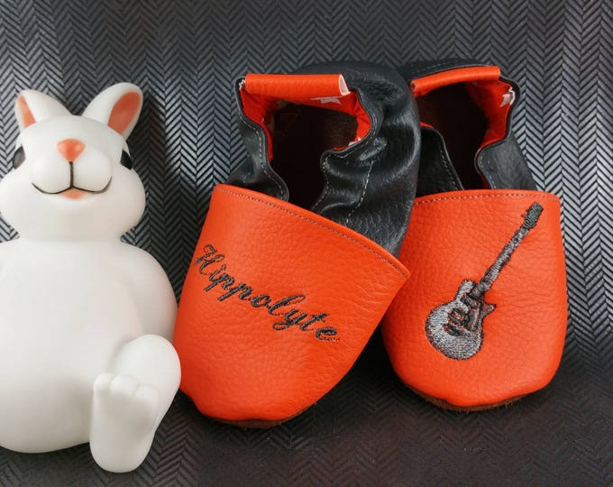 Soft leather slippers, faux leather, baby slipper, boy slipper, girl slipper, child slipper, custom slipper, guitar