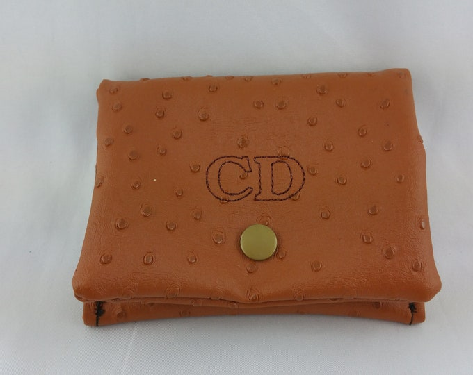 Man wallet, wallet, worn coin embroidered, personalized wallet, leather purse
