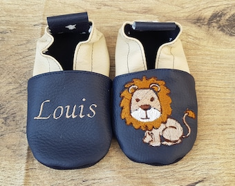 Slippers soft Navy blue leather and beige embroidered Lion to customize