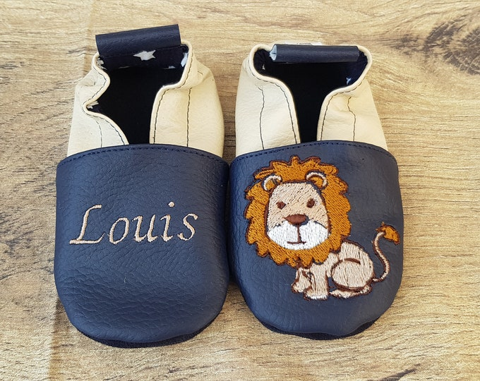 Featured listing image: Slippers soft Navy blue leather and beige embroidered Lion to customize