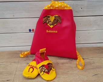 Kindergarten backpack and a pair of slippers matching and custom