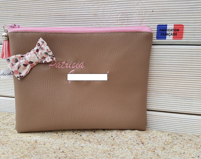 Faux leather with stitched customizable bow clutch