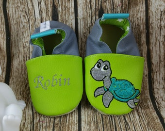 Soft leather, leatherette, slippers, baby, boy, girl, kids slippers, slipper personalized shoe slipper turtle slippers