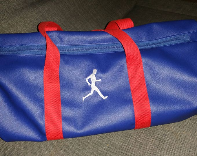 Duffel bag, faux leather, sports, weekend, embroidered, jogging, running, gym bag, personalized,