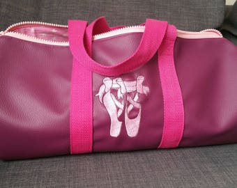 Duffel bag, faux leather, sports, weekends, dance bag, embroidered, personalized,