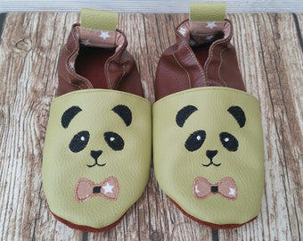 Slippers soft leather, leatherette shoe baby Bootie boy, girl, kids slippers, slippers custom slippers, panda