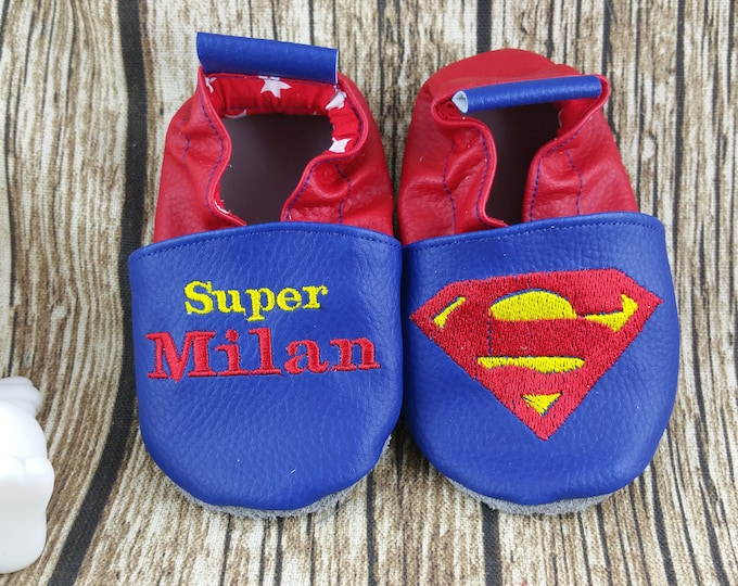 Soft leather slippers, faux leather, baby slipper, boy slipper, girl slipper, child slipper, custom slipper, superhero