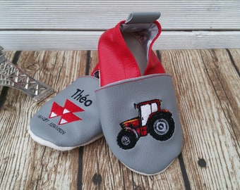 Soft leather, leatherette, slippers, baby, boy, girl, kids slippers, slipper personalized shoe slipper tractor booties