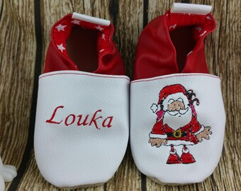 Soft leather slippers, faux leather, baby slipper, boy slipper, girl slipper, child slipper, custom slipper, Christmas