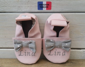 Soft booties leather and faux leather, baby, boy, girl, child slipper shoe slipper shoe, bow, custom liner