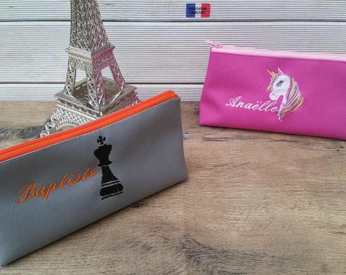 School Kit, Kit, Kit faux leather, embroidered clutch, personalized clutch