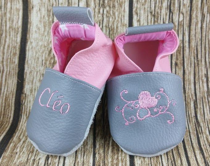 Soft leather slippers, faux leather, baby slipper, boy slipper, girl slipper, child slipper, custom slipper, arabesque