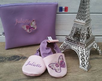 Slippers soft leather and leatherette, baby, boy, girl, child, personalized, birthstone pack, butterfly, birthstone gift bag.