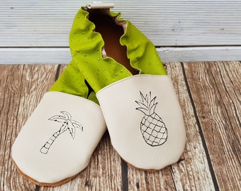 Slippers soft leather, leatherette, boy, girl, adult slippers, slipper personalized shoe slipper pineapple and Palm tree