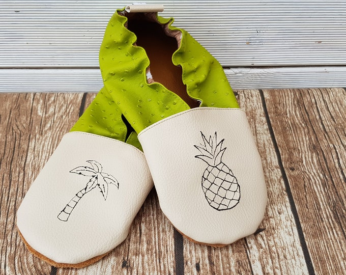 Soft leather slippers, faux leather, boy slipper, girl slipper, adult slipper, custom slipper, pineapple and palm tree