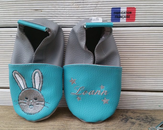 Soft leather slippers, faux leather, baby slipper, child shoe, custom slipper, rabbit