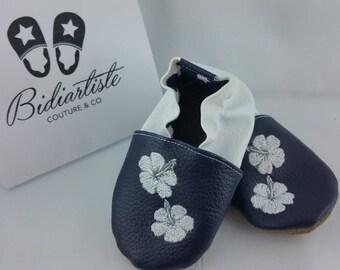 Slippers soft leather, leatherette slipper baby, boy, girl, kids slippers, slipper personalized shoe slipper, flower, hibiscus