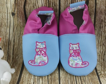 Slippers soft leather, leatherette shoe baby Bootie boy, girl, kids slippers, slippers custom slippers, cat