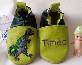 Soft leather slippers, faux leather, baby slipper, boy slipper, girl slipper, child slipper, custom slipper, dinosaur