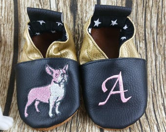 Soft leather slippers, faux leather, baby slipper, boy slipper, girl slipper, child slipper, custom slipper, dog