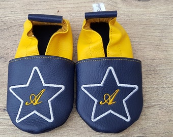 Soft leather slippers, faux leather shoe baby Bootie boy child slippers, slipper personalized, Star and initial