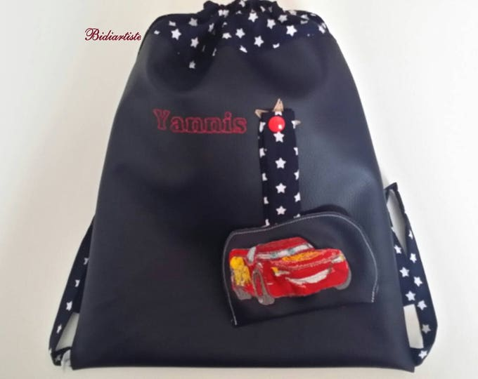 Kindergarten backpack, bag child backpack, faux leather, cotton lined, personalized kids backpack, personalized backpack