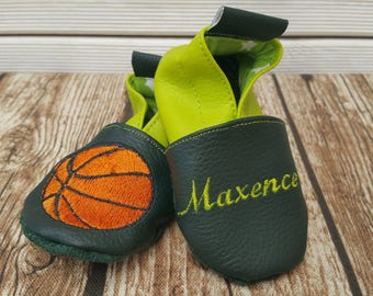 Slippers soft leather, leatherette shoe baby Bootie boy, girl, kids slippers, slippers custom slippers, basket ball