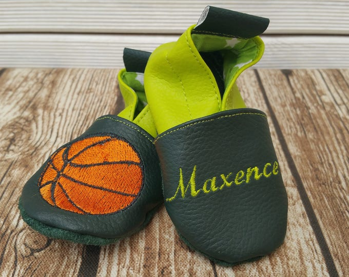 Soft leather slippers, faux leather, baby slipper, boy slipper, girl slipper, child slipper, custom slipper, basketball, ball