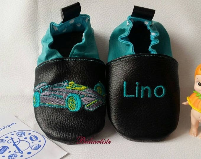 Soft leather slippers, faux leather, baby slipper, boy slipper, girl slipper, child slipper, custom slipper, formula 1